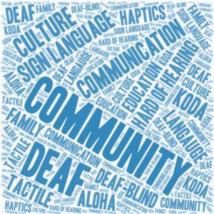 "Keywords for ""Deaf Community"": most notably community, Deaf, aloha, deaf-blind, communication, language, koda"