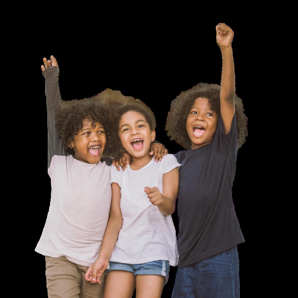 Three Kids cheering