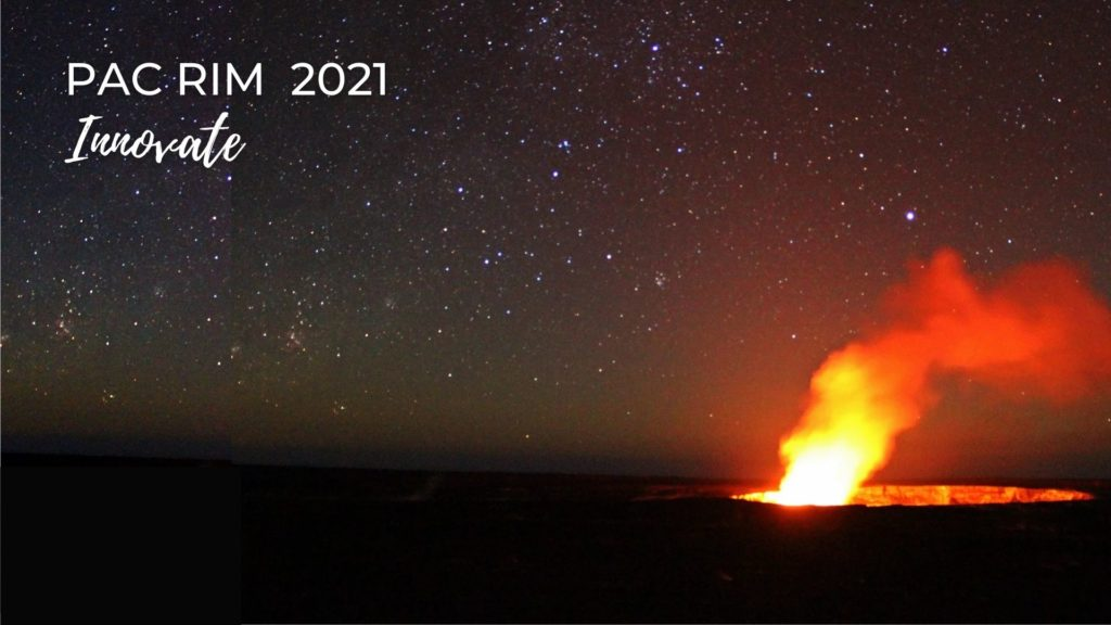"Photo of Kīlauea Volcano on the island of Hawaiʻi. There is a caldera glowing from the lava in it and a puff of orange and yellow steam escaping the caldera on the right of the photo. It is night time and there are many stars in the sky above. In the left upper corner it says ""Pac Rim 2021 and Innovate."""