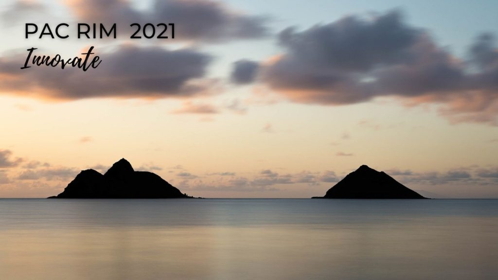 "Photo of Nā Mokulua on the island of Oʻahu. There are two islands on the beach horizon, pastel blue and peach skies above, and calm waters. In the left upper corner it says ""Pac Rim 2021 and Innovate."""