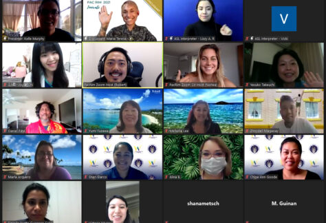 Screenshot of Zoom attendees smiling rom Pac Rim session